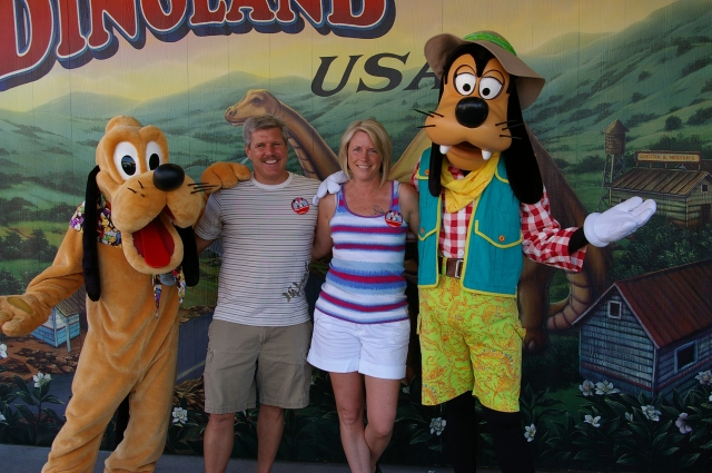 Pete and Dona with Goofy and Pluto