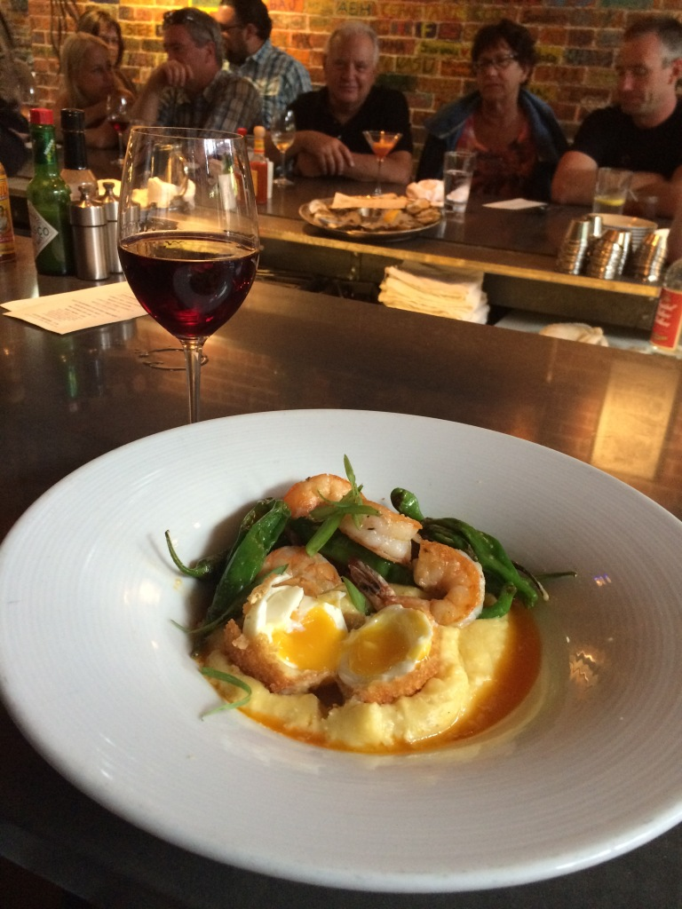 Shrimp and Grits with a Fried Egg