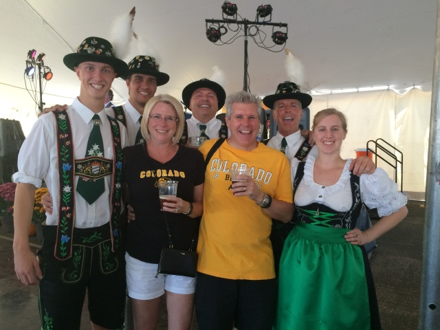 Pete and Dona with the Dancers Enjoying Some Beer