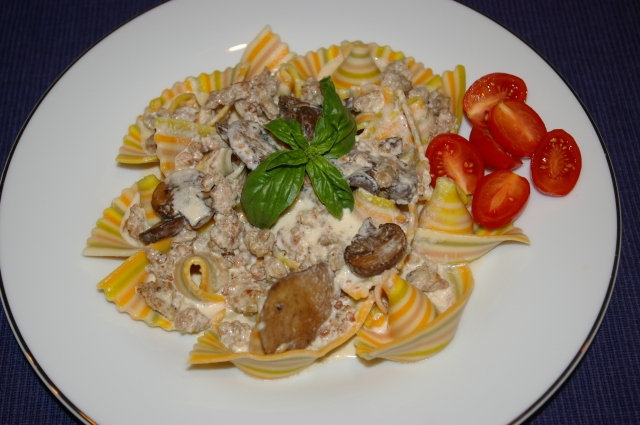 Sausage Alfredo with Rainbow Pasta