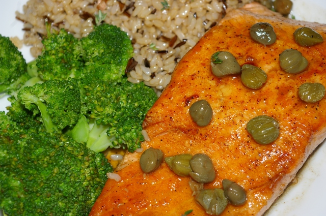 Salmon with Lemon Butter Caper Sauce