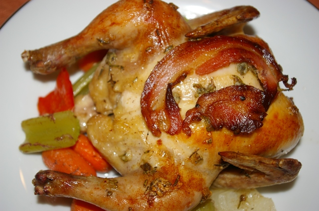 Herb Roasted Cornish Game Hen with Pancetta