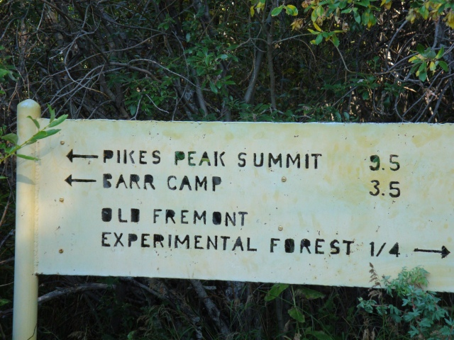 Sign on Barr Trail, about 3 miles into the hike