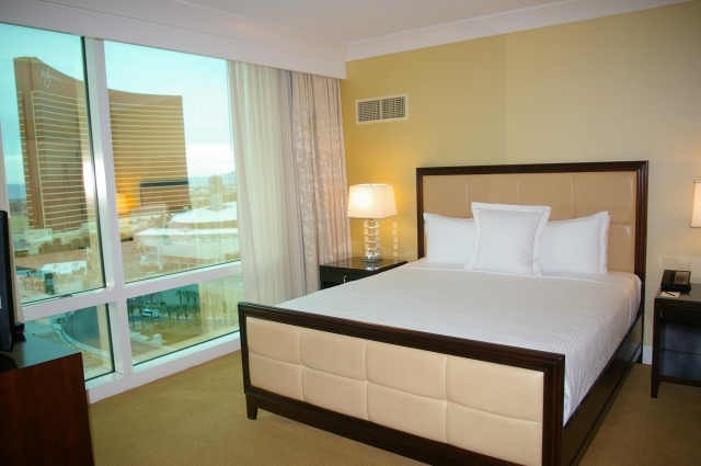 Bedroom with a view of the Wynn Casino and Hotel