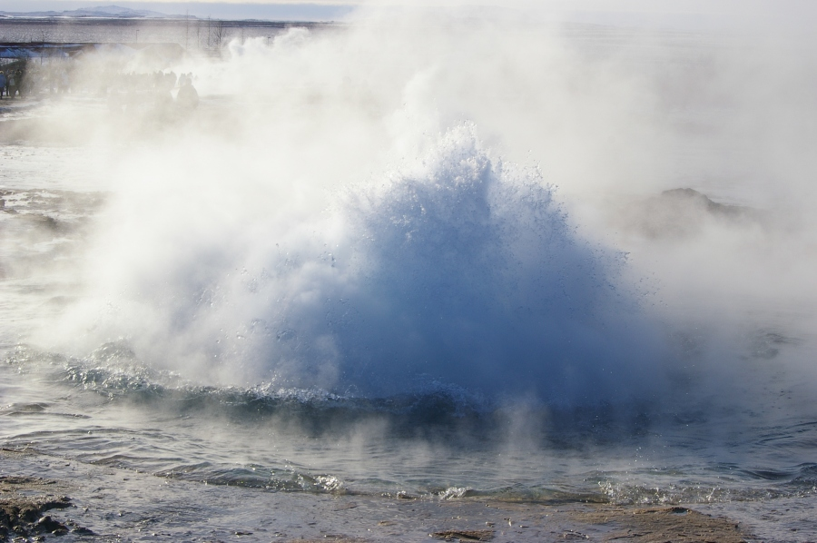 Another View of Geysir Starting to Erupt