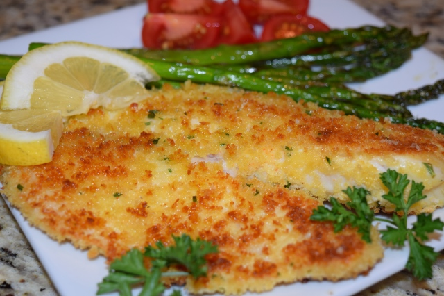 Pan Fried Tilapia with Oven Roasted Asparagus