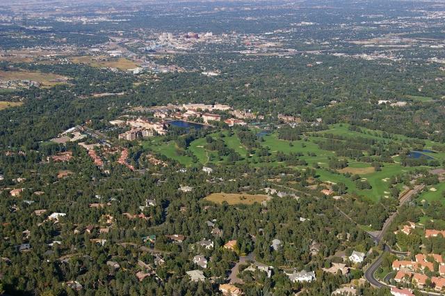 View of the Prestigious Broadmoor Hotel from Cheyenne Mountain