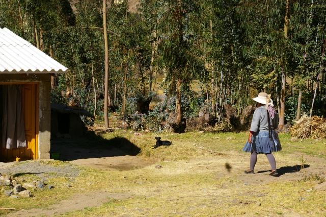 Woman Walking to the Farmhouse