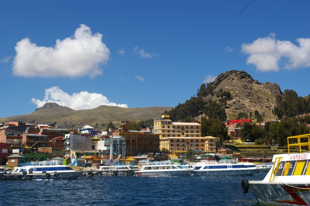 View of Copacabana from Lake Titicaca