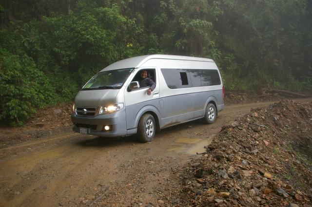 Our Van on a Wide Part of the Road