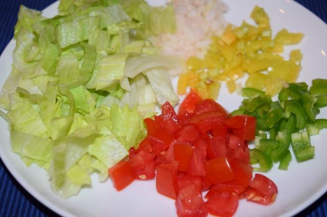 Diced Vegies and Shredded Lettuce