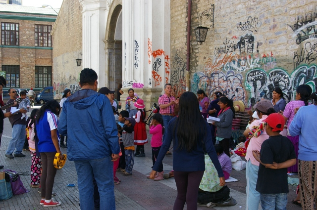 Worshipers Outside of Iglesia San Francisco
