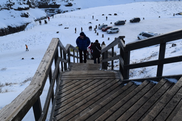 Stairs Leading Down to Gullfoss Falls