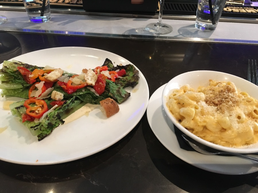 Grilled Romain Salad and Mac and Cheese