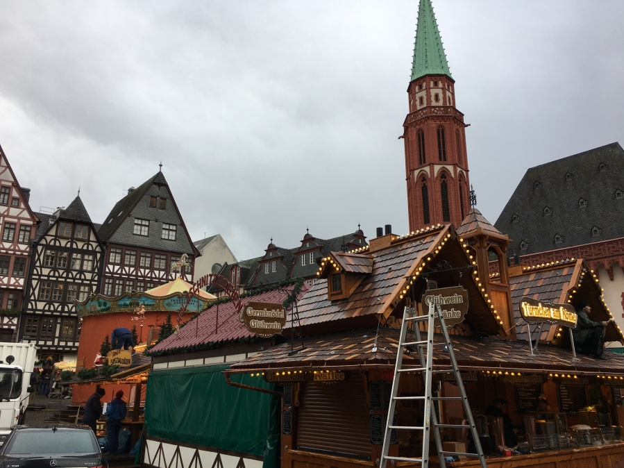 Setting up the Market in Old Town, Frankfurt